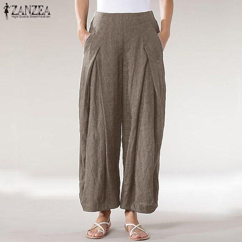 Summer Women Elastic Waist Pockets Trousers ZANZEA Casual Harem Pants Solid Wide Leg Pants Pantalon Plus Size Robe Femme Trouser