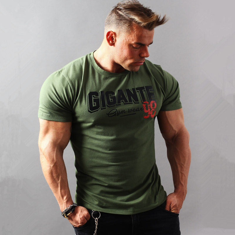 Men Short sleeve Print   T  -  shirt   Gyms Fitness Slim Cotton   t     shirt   2018 Summer New Male Casual Fashion Army Green Tee Tops Clothing