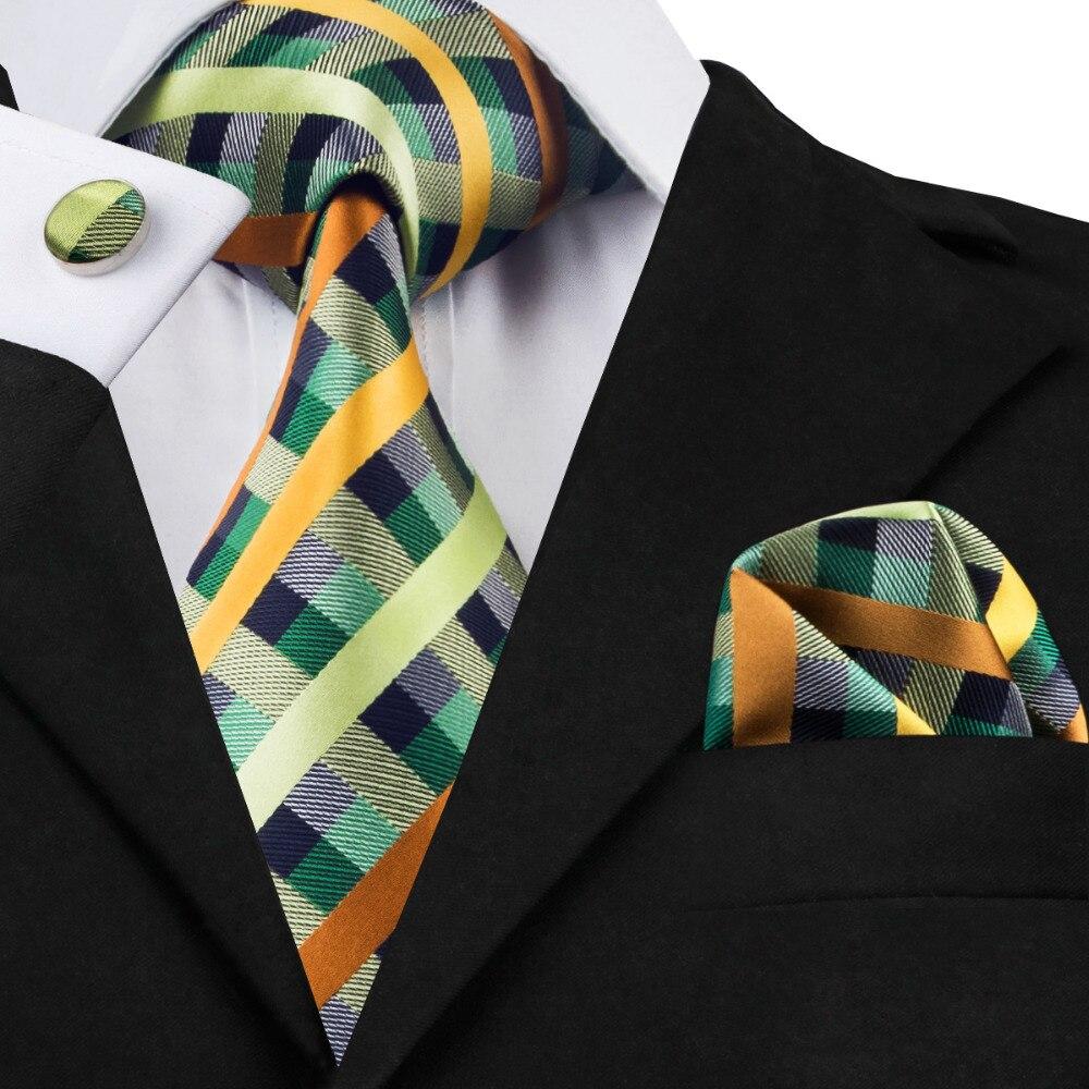 Mens Jacquard Woven Silk Blue Olive Yellowgreen Plaid Tie Hanky Cufflinks Sets