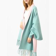 Solid Knit Women Capes Ponchos Elegant Tassels Batwing Sleeve Two Tone Scarf Shawl Outwear Female Capes Spring Cape Poncho цены