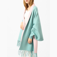 Solid Knit Women Capes Ponchos Elegant Tassels Batwing Sleeve Two Tone Scarf Shawl Outwear Female Capes Spring Cape Poncho