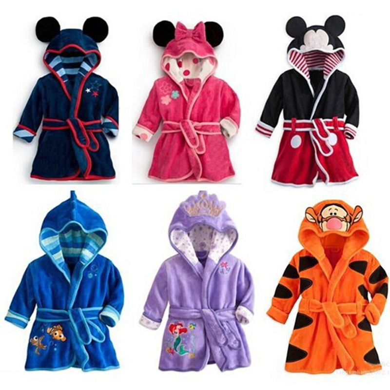 Lovely Animal Hooded Bath Robes Long Sleeve Baby Boy Bathrobe Child Clothing Cartoon Kids Robes Flannel Child Boys Girls Robes