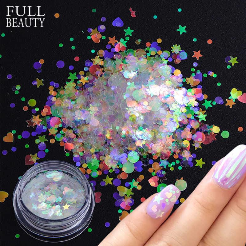 1 caixa Holográfica Lantejoulas Unhas Unhas Flake AB Transparente Glitter para DIY Bela Barra Decorações Da Arte Do Prego Manicure CHAB12-1