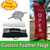 Double Sided Feather Banner Stands Open Feather With Cross Base Cheap Custom Free Design Free Shipping