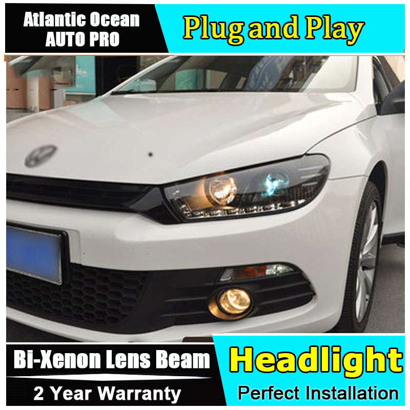 Auto.Pro Car Styling for VW Scirocco Headlights Scirocco R LED Headlight DRL Lens Double Beam HID KIT Xenon bi xenon lens high quality car styling case for vw beetle 2013 2014 headlights led headlight drl lens double beam hid xenon car accessories