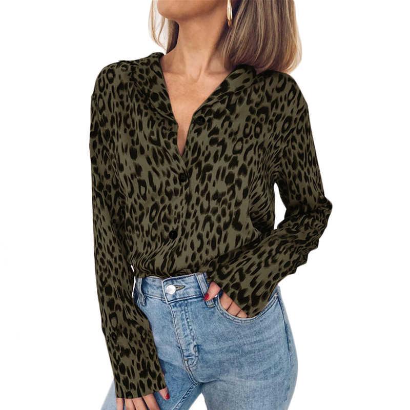 AVODOVAMA M kobiety Leopard szyfonowe koszule 2019 nowy z długim rękawem kobiet bluzki plus size topy moda przyciski Streetwear