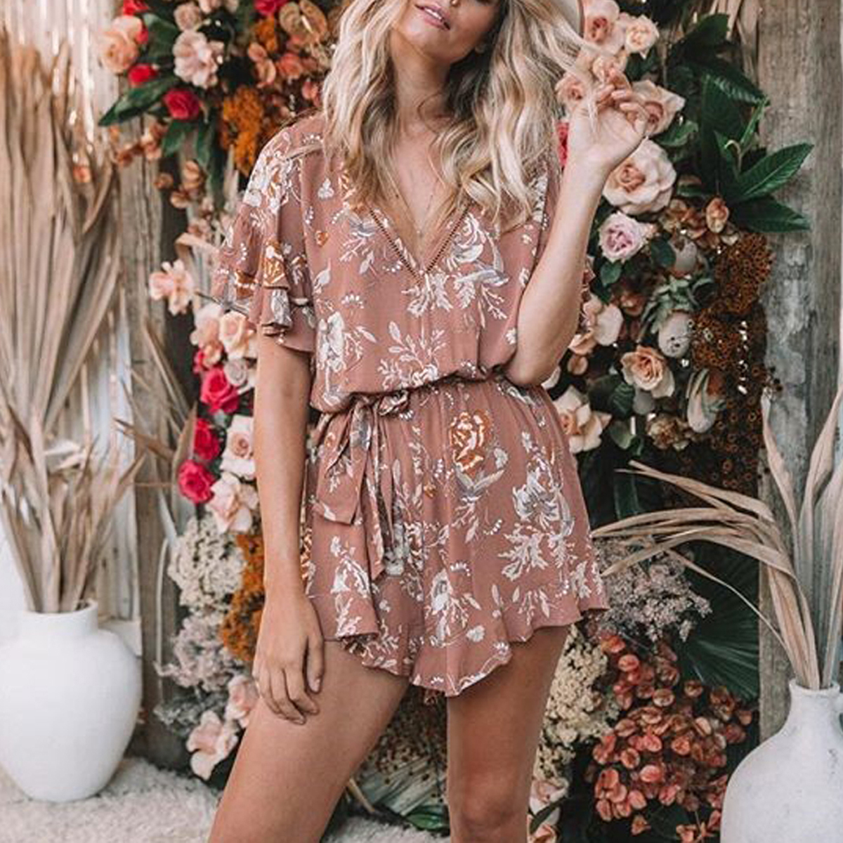 ffab4d2256 Jastie Boho Patchwork Lace V-Neck Women Playsuit Gypsy Style Floral printed  Romper Casual Beach Short Jumpsuit Female Overalls