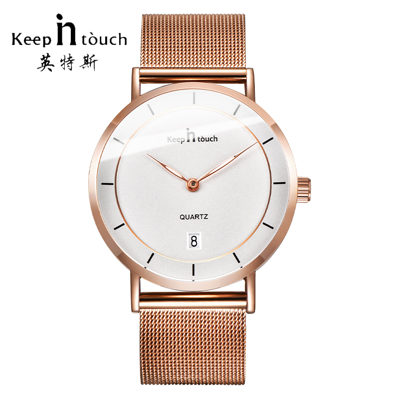 KEEP IN TOUCH Luxury Brand Watch Men Ultra Slim Thin Mesh Stainless Steel Quartz Mens Watches Military Sport Calendar Relogio keep in touch couple watches for lovers luminous luxury quartz men and women lover watch fashion calendar dress wristwatches