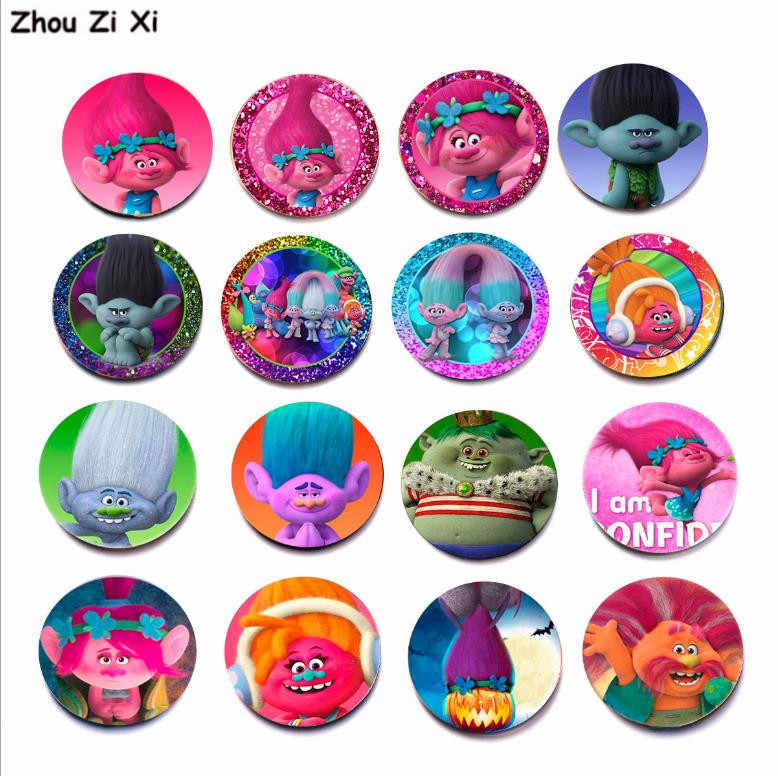 Trolls hair elf time gem crystal glass refrigerator magnet stickers toys