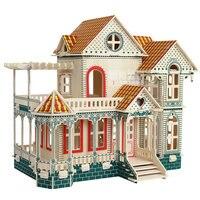 DIY kids câu đố bằng gỗ nhỏ bé búp bê Gỗ nhà Biệt Thự Nhà kit chơi nhà món quà đồ chơi câu đ