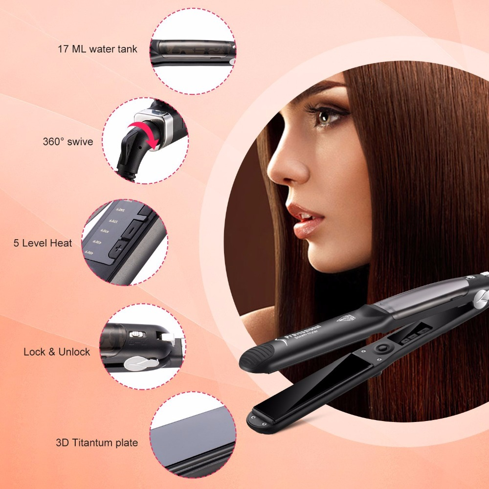 UKLISS Professional Steam Hair Straightener Argan Oil Vapor System Tourmaline Ceramic Salon Hair Straightening Flat Iron