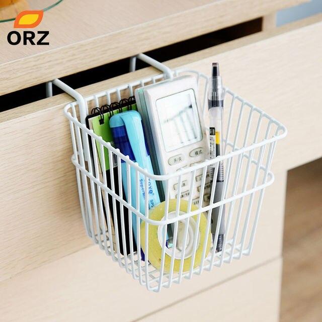 Orz 2pcs Metal Storage Basket Kitchen Door Cabinet Drawer Back Hanger Bathroom Office Sundries Organizer Rack