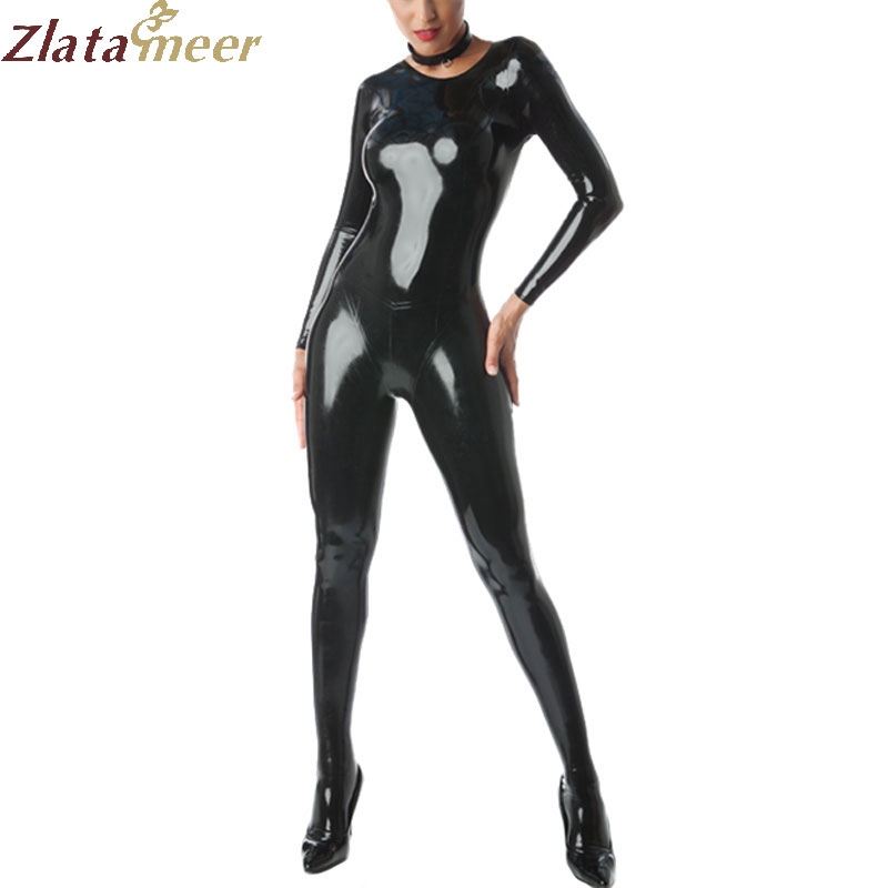 Buy Latex Tights Zentai Fetish Rubber Catsuit 0.4MM Thickness Neck Entry Zipped Crotch Bodysuit LC263