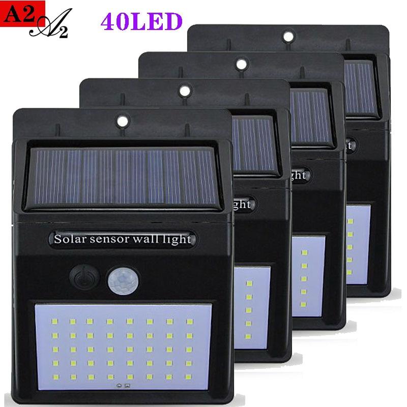 A2 Solar Light Outdoor Solar Energy Lighting 3.7V 40LED Lamps Motion Sensor For Home Garden Street Yard Path Rode Fenc Wall