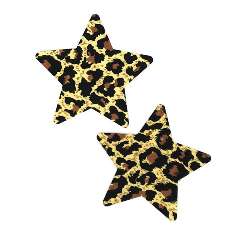 10 Pair / Lot Breast Petals Women Erotic Satin Cloth Nipple Cover Cool Sexy Leopard Print Self Adhesive Different Shape