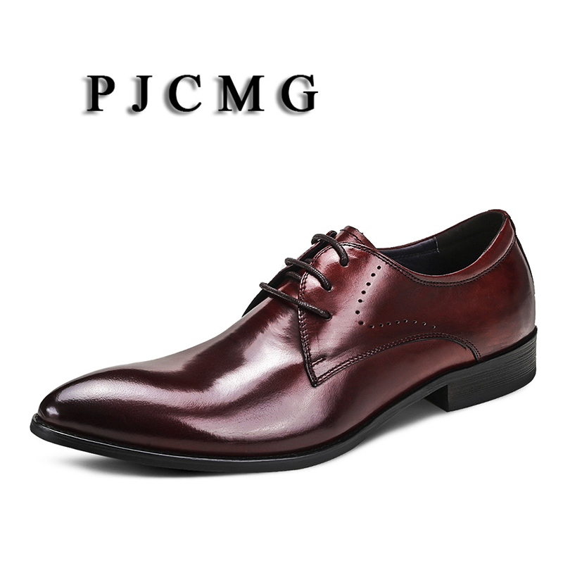 PJCMG New Mens Business Lace-Up Black/Wine Red Pointed Toe Formal Solid Dress Genuine Leather Wedding Oxfords Office ShoesPJCMG New Mens Business Lace-Up Black/Wine Red Pointed Toe Formal Solid Dress Genuine Leather Wedding Oxfords Office Shoes