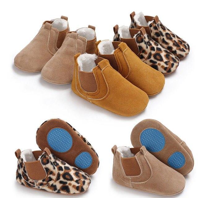 0b57339507f 2019 Leopard cuero del niño del bebé antideslizante Zapatos Niño Niña  Zapatos cómodos