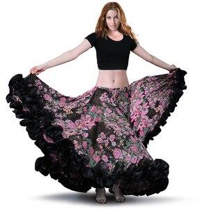 Image 4 - สเปน Bellydancing กระโปรง Flamenco กระโปรงชีฟอง 720 ° ขนาดใหญ่ GYPSY Swing Belly Dance กระโปรง gypsie เครื่องแต่งกาย TRIBAL 25 YARD กระโปรง