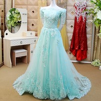 A line Beading Flowers Sexy Arabic Evening Gowns Long Evening Dress Elegant Party Dress Custom Made robe soiree 2017 ZX19