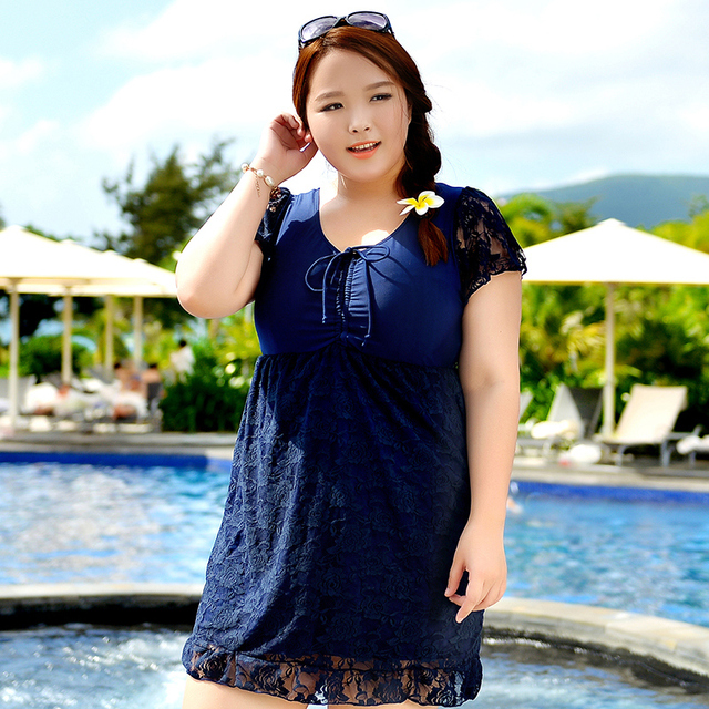 5bcb2eac03317 Women s Comfortable Short Sleeve Sexy Swim Swimwear Bathing Suit Lace One  Piece Swimsuit Beach Holiday Dress Big Large Plus Size