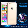 Slim Clear Case + Tempered Glass Screen Protector Film Guard for iPhone 6 6s 7 Plus 5 5s se 4 4s Protective Cover Back Cases Bag