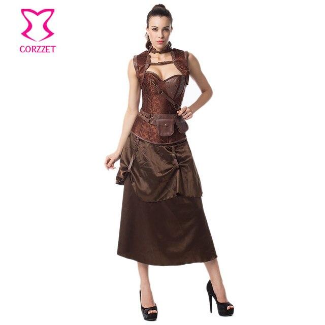Vintage Steampunk Corset Dress Women Black Plus Size Corsets and Bustiers Skirt Jacket Set Gothic Dresses Burlesque Costumes