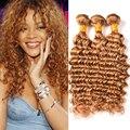 7А Бразильский Глубокая Волна Девы Волос Медово-Светлые Волосы, 3 связки Deep Вьющиеся Бразильские Волосы Вьющиеся Блондинка Переплетения Человеческих Волос пучки