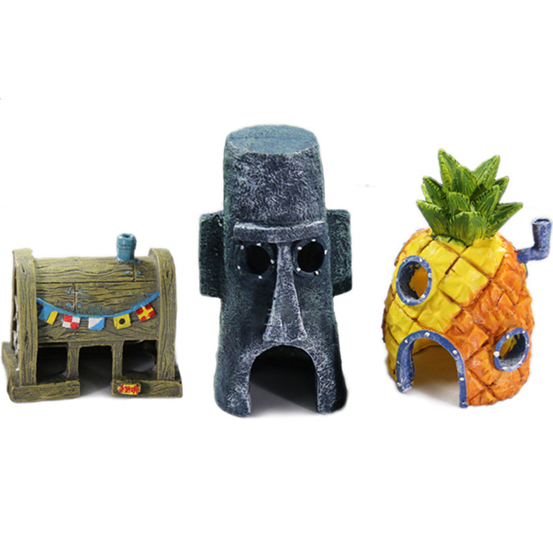 3 style Resin craftsMini For SpongeBob & Squidward House Style Pineapple Cartoon House Home Fish Tank Aquarium Ornament Decorate
