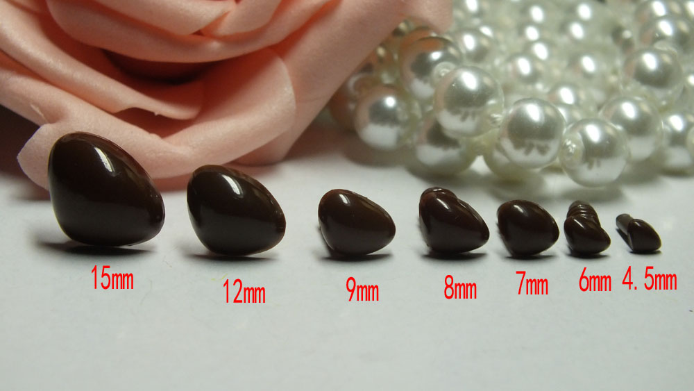 Free ship!!5-15mm brown Color Triangle Safety Nose / Plastic Nose /Toy nose - 30pcs