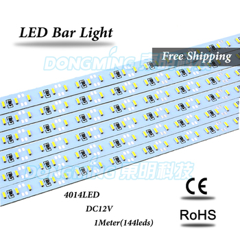SMD 4014 led strip 100cm*35pcs free shipping led luces Bar Double Row LED 4014 Hard Strip Light 144 LEDS White/cool white 12V