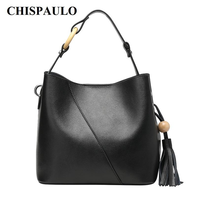 CHISPAULO 2017 Women Genuine Leather Handbags Bucket bag Famous Brands Designer Handbags High Quality Tote Bag Tassel new C132