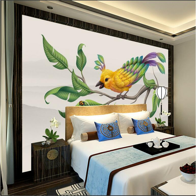 photo wallpapers with flowers hand painted custom wallpaper birds