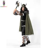 Halloween Party Viking Warrior Costumes Fancy Barbarian Medieval Helmet Set For Adult Men Cow Devil Costume Hobbit Cos Uniform