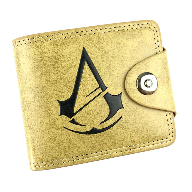 Assassins Creed Anime Khaki Wallet PU Leather Short Folding Purse Newest Design Card Holder Button Pocket Money Bag anime folding wallet final fantasy vii cloud strife sephiroth high quality short pu purse free shipping