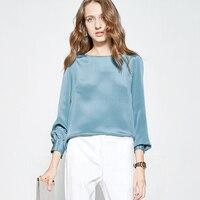 100% тяжелых шелковая блузка Для женщин рубашка Простой дизайн с круглым вырезом одежда с длинным рукавом 5 цветов качество ткани Повседневно