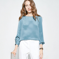 100% Heavy Silk Blouse Women Shirt Simple Design O Neck Long Sleeves 5 Colors Quality Fabric Casual Top New Fashion Spring 2019