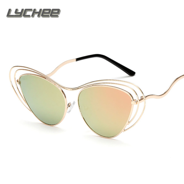 LYCHEE 2017Women Sunglasses New Brand Design Mirror Flat Rose Gold Vintage Cateye Fashion sun glasses lady Eyewear