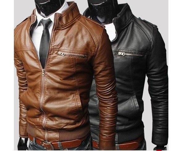 Korean Style Men's Slim Zipper Designed PU Leather Coat Jacket 2 Colors/L XL XXL Brown Black dropship