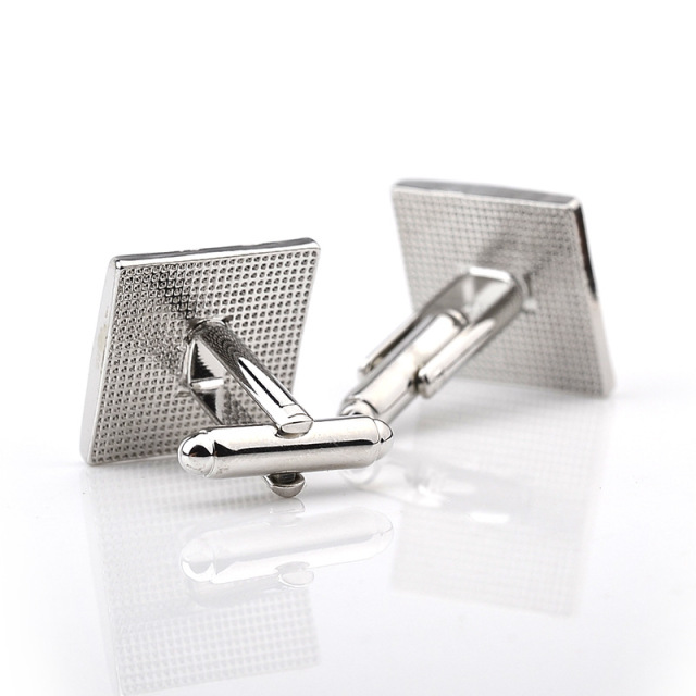 French Shirt Black Silver Square Cufflinks Wedding Cuff Links Button Jewelry