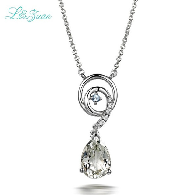 Lzuan beryl s925 silver womens pendants classic green crystal water lzuan beryl s925 silver womens pendants classic green crystal water drop 165ct gemstones necklaces fine aloadofball Images