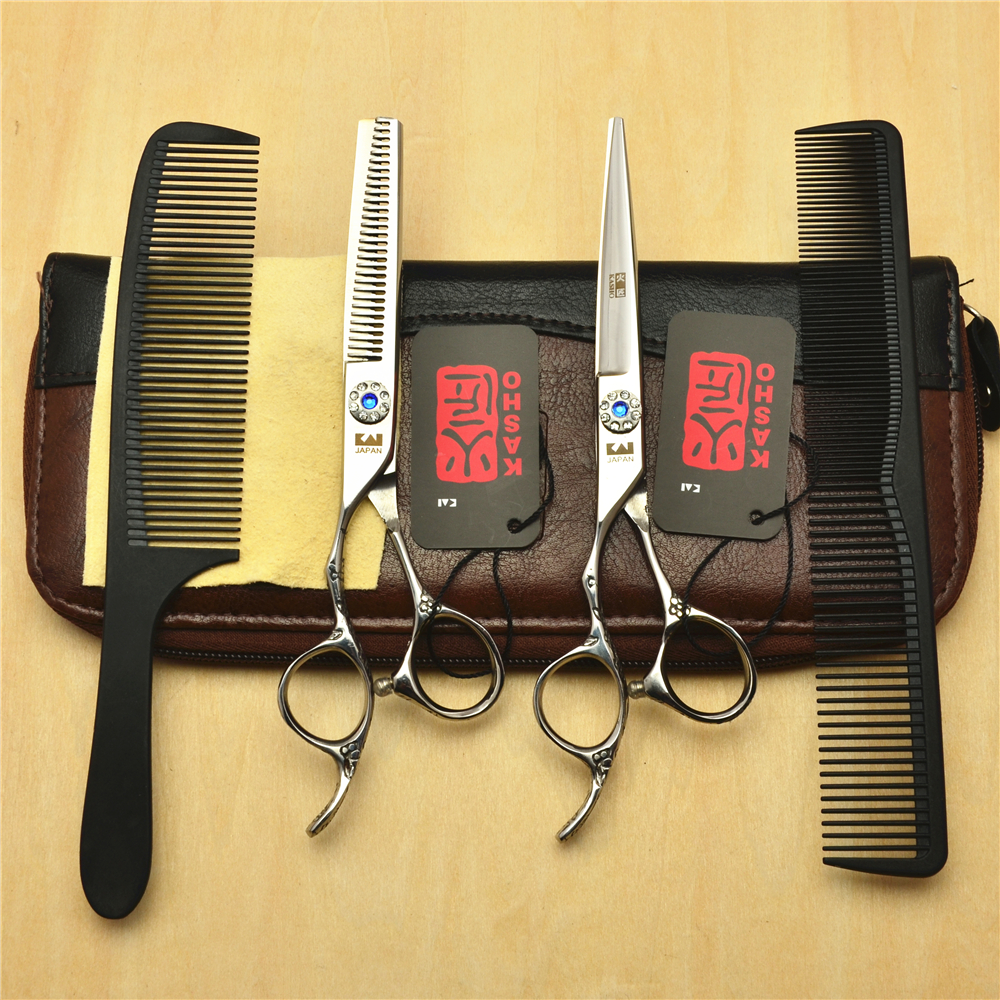 4Pcs Set Left Hand 6'' Silvery Professional Hair Scissors Hairdressing Scissors Cutting Shears + Thinning Scissors + Combs H8002