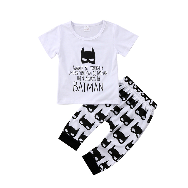 aac1346c7f1e 2pcs Baby Boy Batman T shirt Tops+Pants Leggings Outfit Toddler Kids ...
