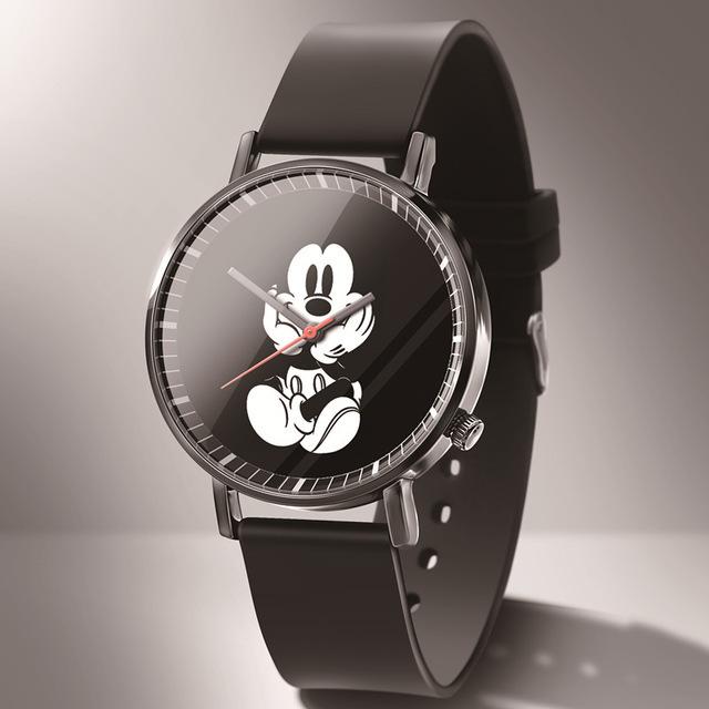 Reloj de cuarzo Mickey Mouse de nueva moda, relojes con manilla de cuero.De dibujos animados para hombre y mujer, relojes para niños y niñas.