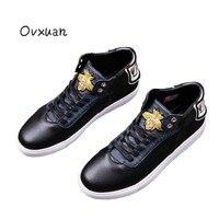 Ovxuan Золотая Пчела вышивка Сова со стразами итальянский Стиль Элитный бренд ручной работы Мокасины мужские мокасины Мужская обувь