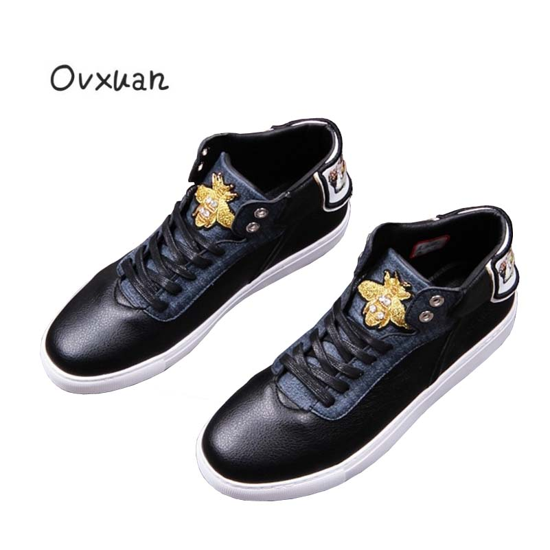 Ovxuan Gold Bee Embroidery Owl Glitter Rhinestone Italian Style Luxury Brand Handmade Loafers moccasins Mens Flats Men Shoes-in Men's Casual Shoes from Shoes    1