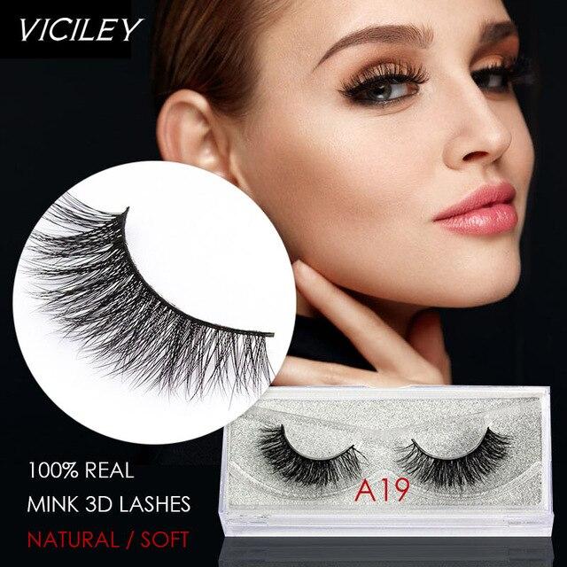 VICILEY Mink Lash Handmade Mink Eyelashes Natural False Eyelashes High Quality Fake Eye Lashes Extension for Makeup-A19