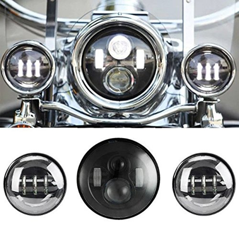 7 Inch Black Motorcycle Daymaker LED Headlight + 2pcs 4-1/2 Fog Lights for Harley Davidson LED Passing Lights Front Lights led motorcycle fog lights chrome for harley 12v 4 5 inch fog lamp 4 1 2 30w passing drl waterproof motorbike black for harley