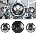 "7 Pulgadas Negro Motocicleta Daymaker LED Faro + 2 unids 4-1/2 ""Luces para Harley Davidson LED Paso Luces Delanteras de niebla"