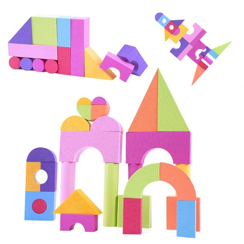 Iq improve eva soft building block set 50pcs foam for Foam blocks building construction