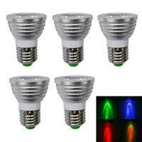 5 шт./лот, e27 3 Вт 150lm 1-LED Multi-Цветной RGB света Светодиодные пятно лампы/Дистанционное управление (AC 100 -220 В), Бесплатная доставка
